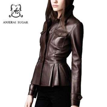 2017 Spring women leather jacket coat Black sheepskin genuine leather motorcycle cloth female sexy OL Slim Button Pleated Jacket