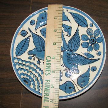 Southwestern Blue & White Plate, Terracotta, Birds, Geese, Ducks