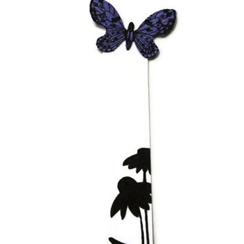 Butterfly Bookmark - Flower Silhouette - Hand Painted - Handmade - Purple and black - Easter