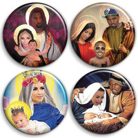 Kanye West BABY YEEZUS - 4 x Button Badge Set - 25mm - 1 inch - Chirstmas Kim Kardashian