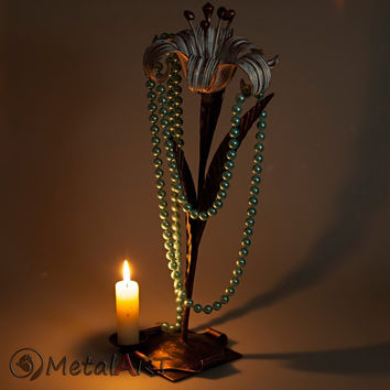 Metal flower sculpture Lily, Iron Anniversary, 6th Anniversary, Steel Anniversary gift/ 11th Anniversary, Jewelry Stand, Metal candle holder