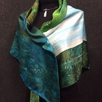 Waterfall - Hand Painted Silk Scarf