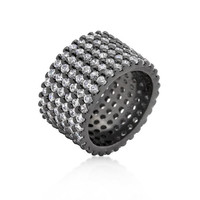 Hematite Wide Pave Cubic Zirconia Ring, size : 05