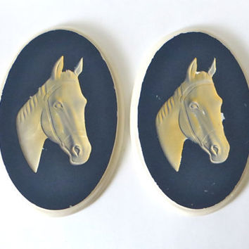 Equestrian Chalkware Pair of Horse Head Wall Plaques