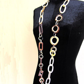 Unique long horn and wood link chain necklace