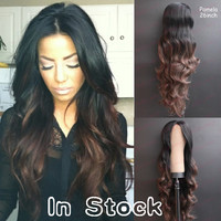 Free shipping heat resistant two tone ombre black to brown heat resistant wavy synthetic lace front wig