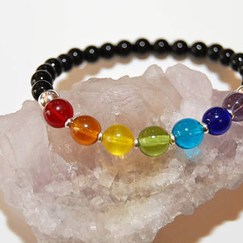 Bracelet 7 Chakra Glass Black Onyx Healing Properties Reiki Mala Bracelet Meditation Yoga Stress Reduction Confidence