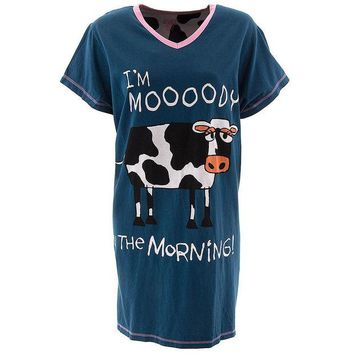 ONETOW Cow Moody in the Morning Women's V-Neck Nightshirt