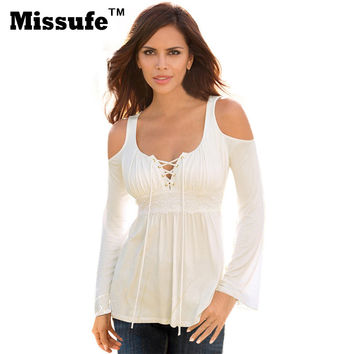 Missufe 6 Colors S-5XL Plus Size Sexy Tops Patchwork Flare Sleeve Shirts Lace Up Off Shoulder Blusas 2016 Autumn Women's Blouses