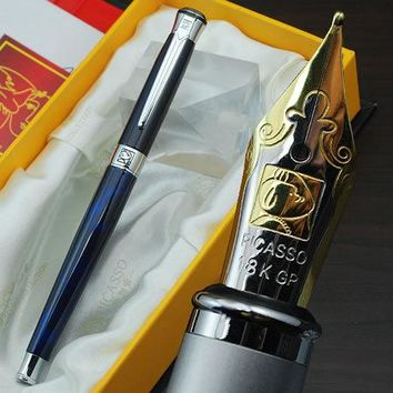 Free shipping wholesale school office supplies pen Picasso Luxury blue & silver M nib fountain pen high quality writing pen