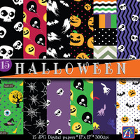 50% OFF,Halloween Digital Papers, backgrounds, printables, Personal and commercial use, Instant Download,banner,15 Sheets,300 DPI