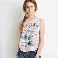 Grey Eagle And US Flag Print Muscle Crop Shirt