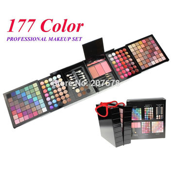 177 Color Makeup Palette Set Eye Shadow Blush Lip Gloss Brow Shader Concealer Eye Shadow Brush + Gel