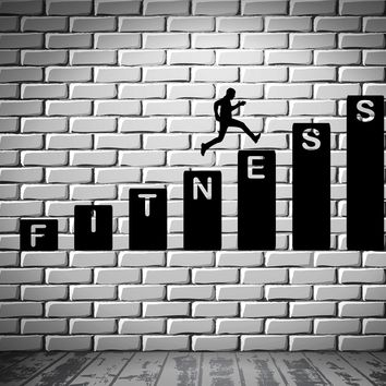 Gym Wall Decal Fitness Health Sports Vinyl Stickers Art Mural Unique Gift (ig2515)