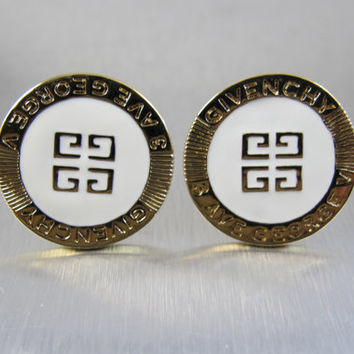 Vintage Givenchy Couture Logo Earrings, 3 Ave George V Signed Clip On White Enamel Gold Statement Signed, Givenchy Designer 1950s Jewelry