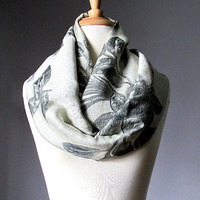 Platinum Scarf, infinity scarf, rose scarf,  pashmina infinity scarf, silver scarf , charcoal drawing