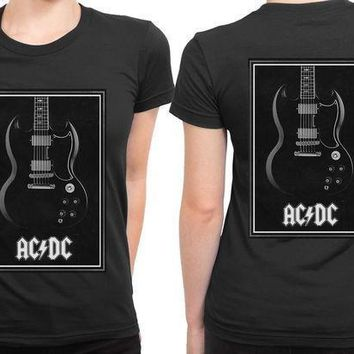 Acdc Guitar 2 Sided Womens T Shirt