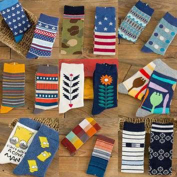 Colorful Printed Men's Cotton Crazy Socks (2 sets)