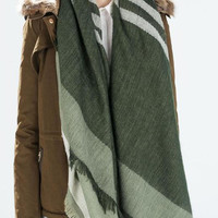 Green Striped Pattern Raw Hem Knitted Scarf