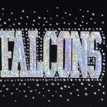 Falcons Team Name - Rhinestone and Foil Iron on Hot Fix Transfer Bling - DIY