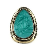 Europe America Style Vintage Antique Metal Gemstone Ring Adjustable