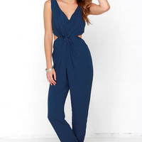 Knotted or Nice Navy Blue Jumpsuit