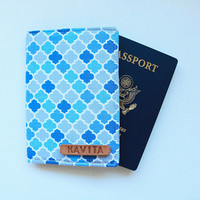 Employee Gift Personalized passport Cover, Sky Blue Passport Cover, Passport Holder - SKPC27