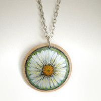 Daisy Necklace White Flower Pendant with Long Chain  Botanical Motif Hand Painted Jewelry