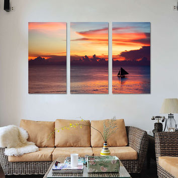 Mordern Seascape Painting Sailing Boat Oil Picture Wall Art Canvas Prints Cuadros Decoration Modular Painting  NO Frame 3 Panals