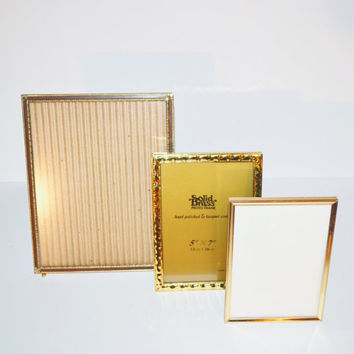 Vintage Brass Picture Frames Gold Picture Frames set of 3 Picture Frames Wedding Décor Wedding Gold Picture Frames for Table Numbers