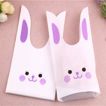 50pcs/lot 10x17cm Lovely  Party Packaging Biscuit Sachet Cadeau Cute Rabbit Ear Bakery Cookies BagsKawaii Pokemon go  AT_89_9