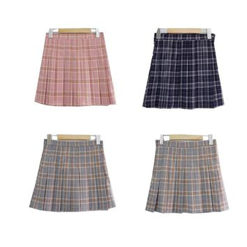 Harajuku Women Skirt Preppy Style Pleat Skirts Mini Cute School Uniforms Saia Faldas Ladies Jupe Kawaii Plaid Skirt SK50090