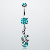 Sparkle Star Gem Swirl Belly Ring