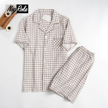 2017 Summer 100% cotton short-sleeve V-neck plaid mens pajama sets casual homewear sleep lounge shorts pyjamas sets for men