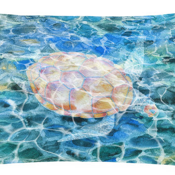 Sea Turtle Under water Canvas Fabric Decorative Pillow BB5363PW1216