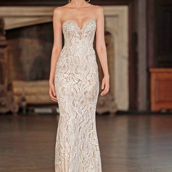 Berta Illusion Beaded Mermaid Gown (In Stores Only) | Nordstrom