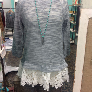 Grey Top with Lace