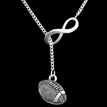 Football Sports Gift Mom Infinity Lariat Necklace