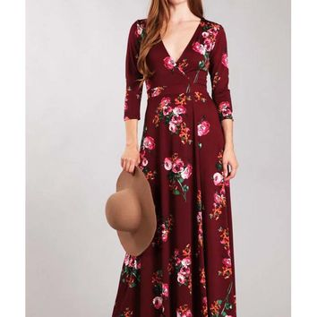 Burgundy Rose Print Wrap Style Maxi Dress