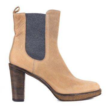 Brunello Cucinelli Womens Brown Grained Leather Chelsea Booties