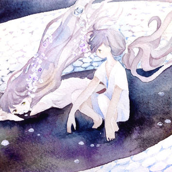 "Original Watercolor Painting  5x7 ""蛇のむすめたち""  daughters of the snake  - Original picture,girl illustration,fantasy illustration"