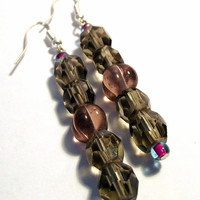 Handcrafted Costume Jewelry Smoky Quartz Gray and Plum Glass Beaded Dangle Earrings