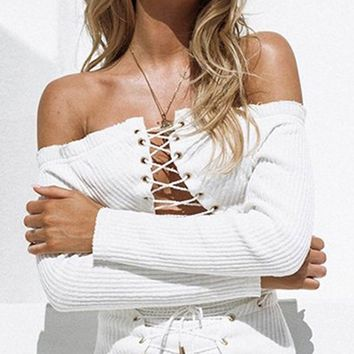 White Off Shoulder Lace Up Crop Top And High Waist Mini Skirt