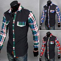 Plaid Checkered Sleeve Men Casual Shirt