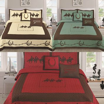 Texas Western Design Running Horses Barbed Wire Quilt BedSpread - 5 Piece Set