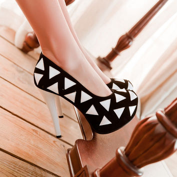 Women Platform Pumps High Heels Party Spike Shoes Woman 3595