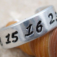 LOST Inspired Ring - 4 8 15 16 23 42 Hand Stamped adjustable aluminum ring -