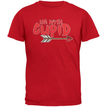 Valentine's Day - I'm With Cupid Red Adult T-Shirt