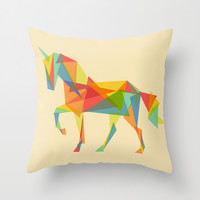Fractal Geometric Unicorn Throw Pillow by Budi Satria Kwan