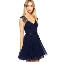 Fashion Plaza Chiffon Lace Empire-line Formal Evening Cocktail Party Dress W04011 (M, Royal Blue)
